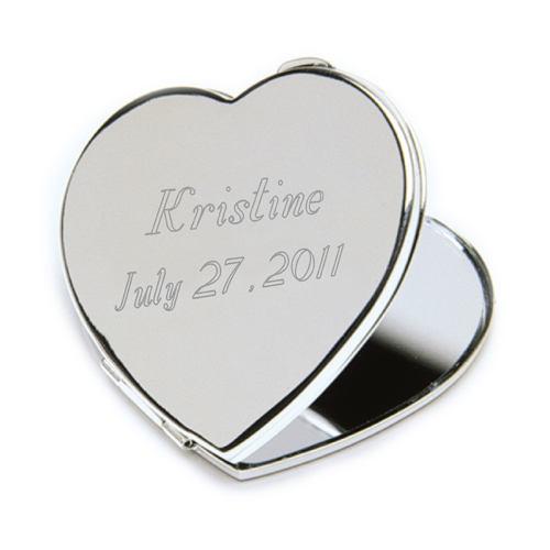 Engraved Heart Sterling Silver Mirror Compact