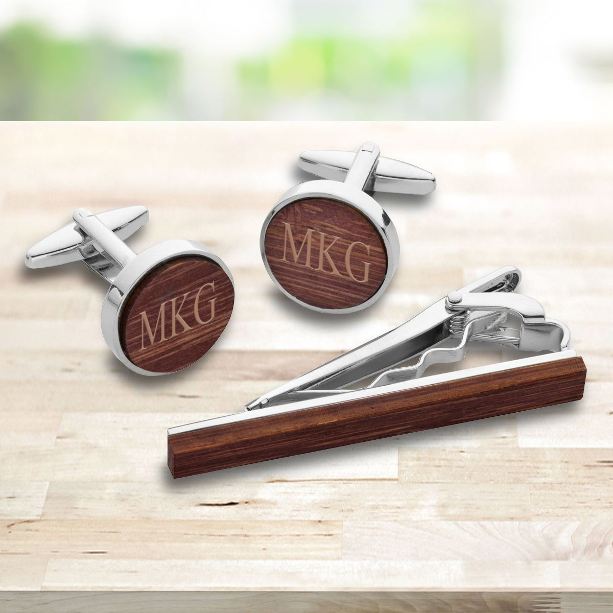 Personalized Walnut Wood Cuffs Set GC1916