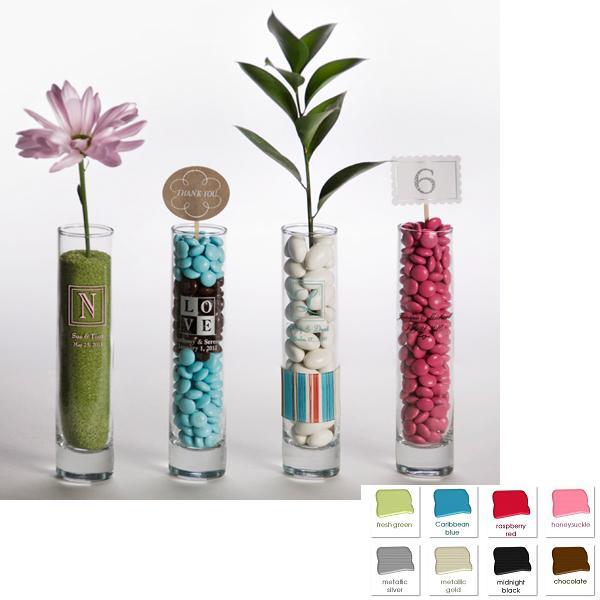 Set Of 24 Custom Printed Glass Bud Vase Wedding Favors Personalize