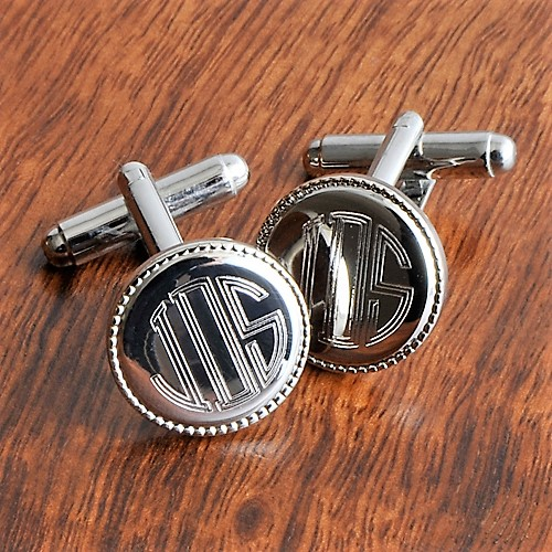 Engraved Round Silver Beaded Cufflinks