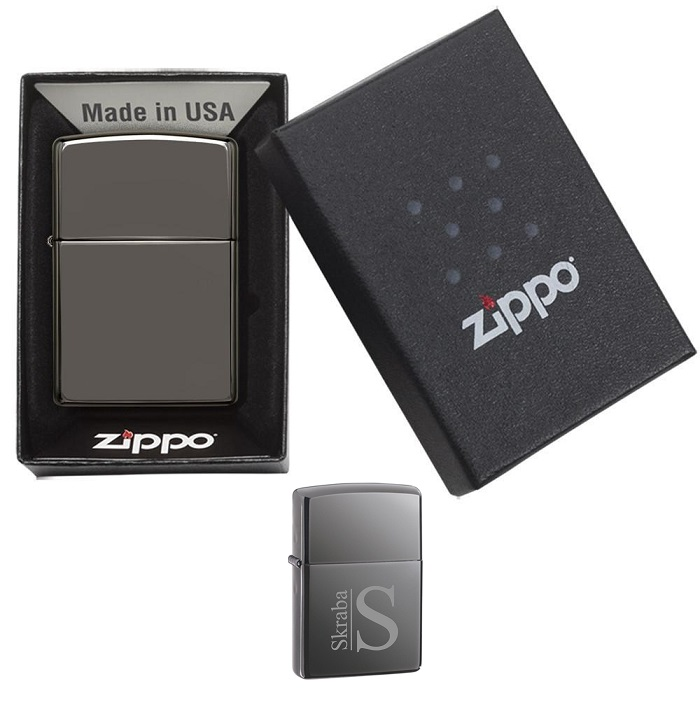 Engraved Slick Black Ice Zippo Lighter GC203