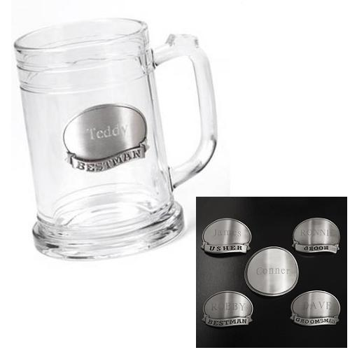 Engraved Pewter Emblem 16oz Groomsmen Glass Mug Stein GC220