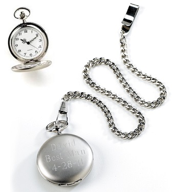 Engraved Brushed Silver Quartz Pocket Watch GC225
