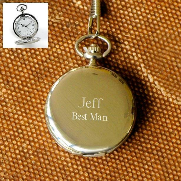 Engraved Stainless Steel Polished Quartz Pocket Watch GC242