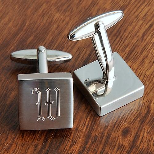 Custom Brass Harrison Brushed Steel Cufflinks