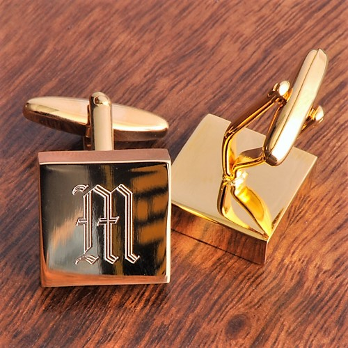 Addison High Polish Engraved Brass Cufflinks GC260