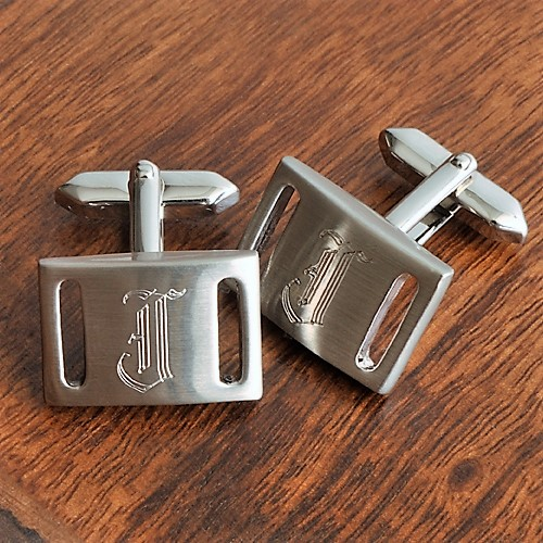 Engraved Brass Marlon Brushed Steel Cufflinks GC261