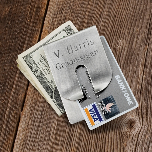 Harrison Engraved Smooth Silver Money Clip and Wallet GC266