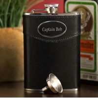 Engraved 8oz Executive Leather Flask GC267
