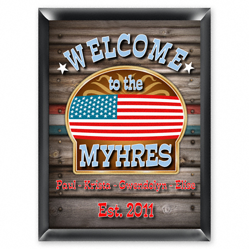 Custom Patriotic American Flag Welcome Family Sign GC268welcome