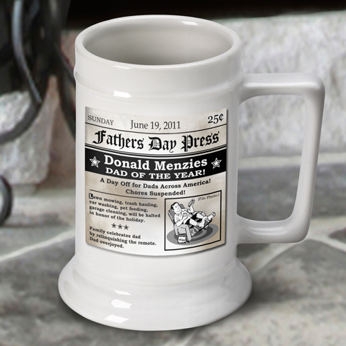 Custom Fathers Day White Ceramic Beer Stein GC270FATHERSHEADLINE