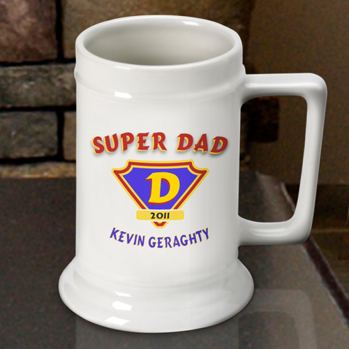 Custom Super Dad White Ceramic Beer Stein Mug GC270SUPERDAD