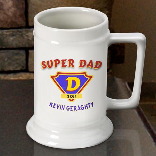 Custom Super Dad White Ceramic Beer Stein Mug