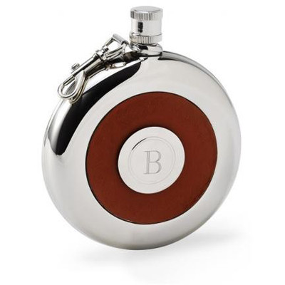 Oxford Round Monogram 5oz Leather Flask With Engraved Shot Glass GC275