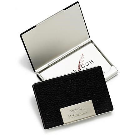 Engraved Black Leather Executive Business Card Case GC279