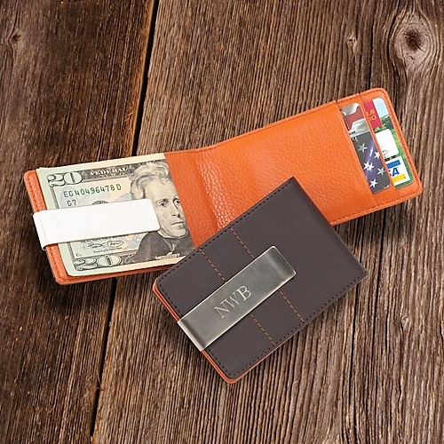 Metro Style Engraved Silver Leather Wallet and Money Clip