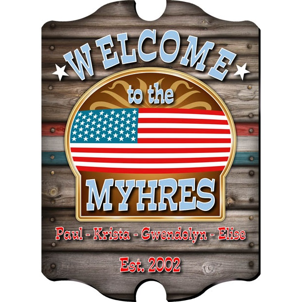 Personalized American Flag Welcome Sign GC298welcome