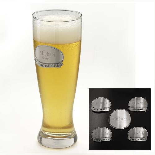 Engraved Medallion 20oz Groomsmen Grand Pilsner Glass GC404