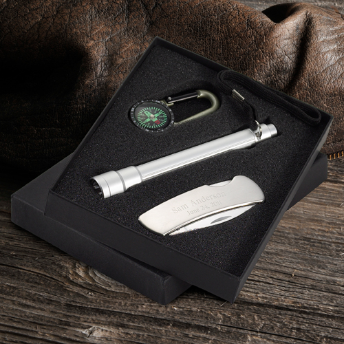 Engraved Sportsmens Gift Set With Penknife Flashlight Compass