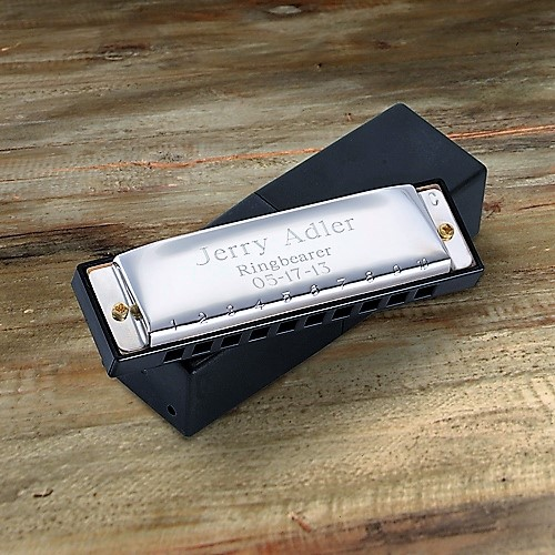Engraved Stainless Steel Hohner Harmonica GC414