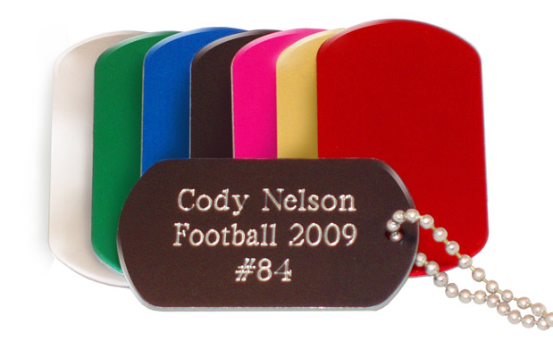 Engraved Brushed Aluminum Pink Or Purple Dog Tag