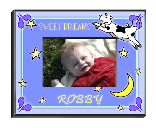 Cow Jumping Over The Moon Baby Boy Picture Frame