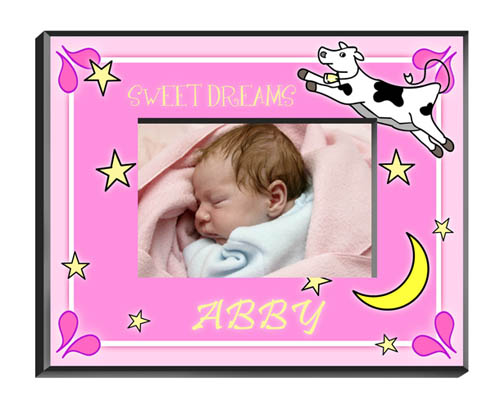 Cow Jumping Over The Moon Baby Girl Picture Frame