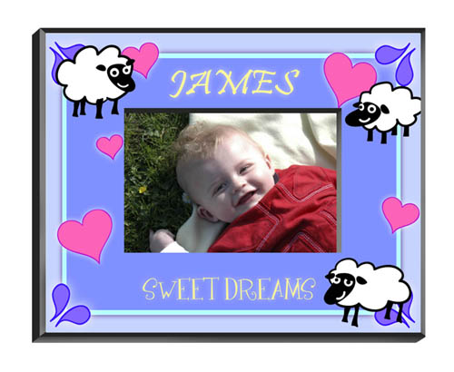 Counting Sheep Baby Boy Picture Frame