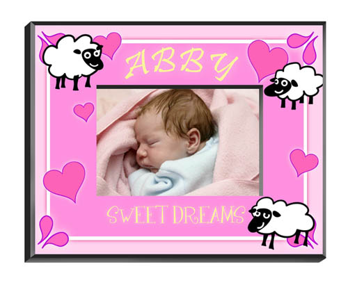 Counting Sheep Baby Girl Picture Frame