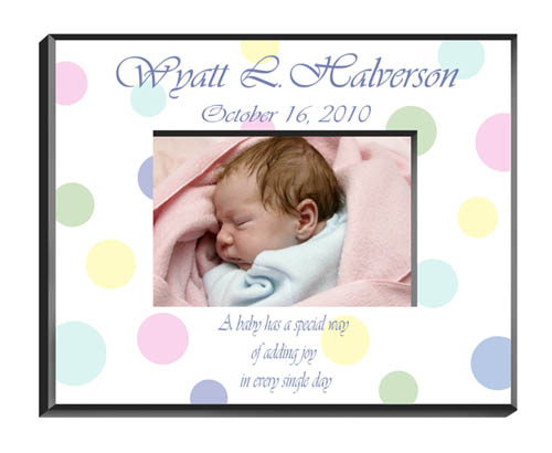 personalized polka dot baby picture frame