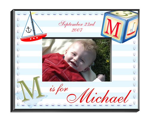Personalized Polka Dot Baby Picture Frame GC428sailorboy