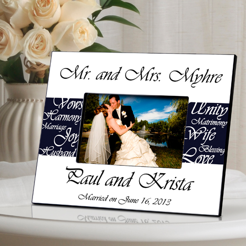 Mr and Mrs Personalized Wedding Frame Navy Blue GC430navy