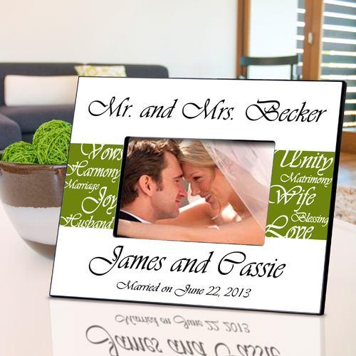 Mr and Mrs Personalized Wedding Frame Olive Green GC430olive