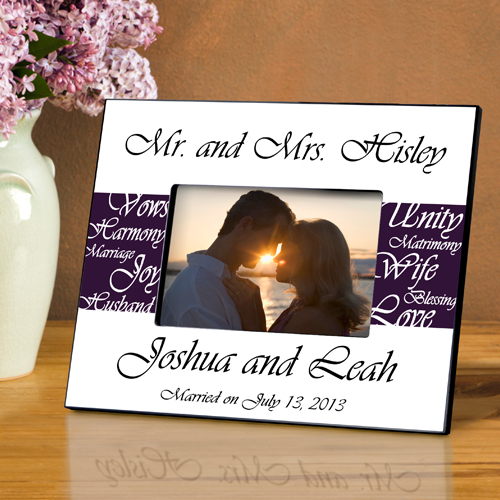 Mr and Mrs Personalized Wedding Frame Plum Purple GC430plum