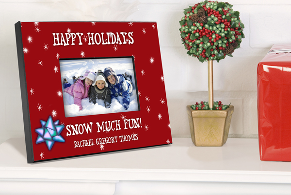 Personalized Red Happy Holiday Picture Frame