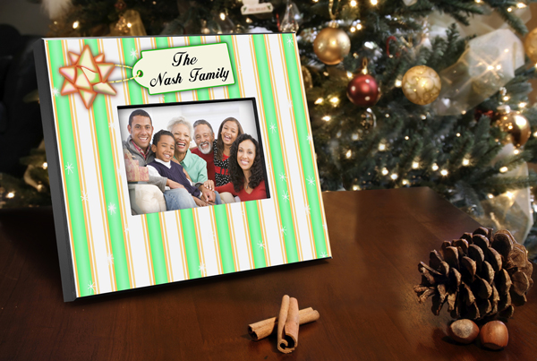 Personalized Green Stripes Holiday Picture Frame GC436stripesgreen
