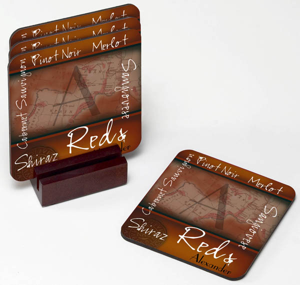 Personalized Vintage Wine Coaster Set GC454