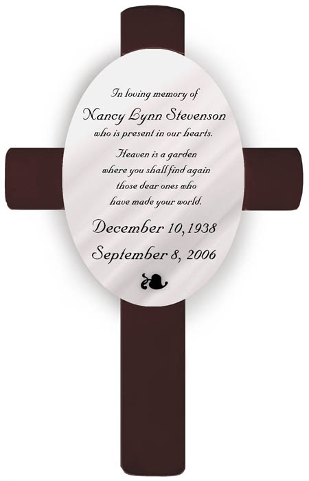 Heaven Sympathy Memorial Engraved Cross GC462M3
