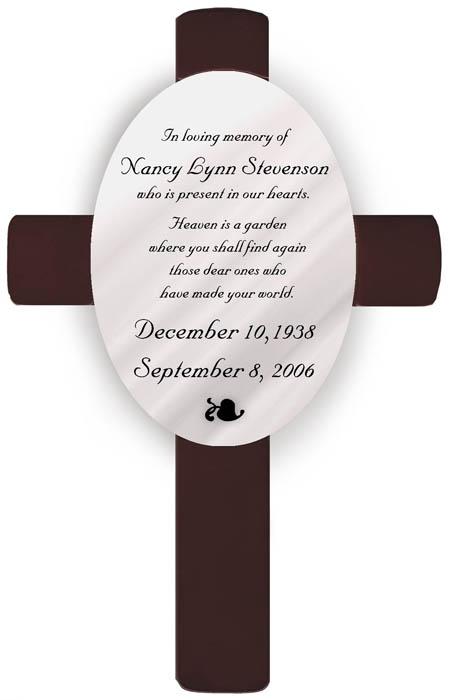 Heaven Sympathy Memorial Engraved Cross