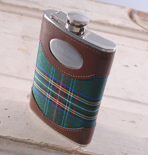Engraved Leather Plaid 8oz Steel Flask GC482