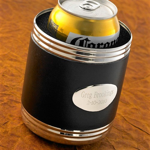 Engraved Silver and Black Leather Beverage Holder GC483