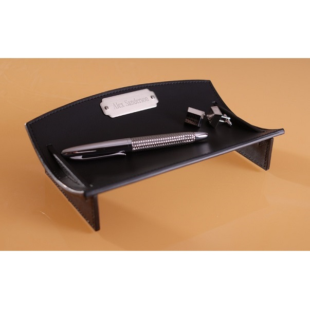 Leather Desk Caddie With Engraved Silver Plate GC493