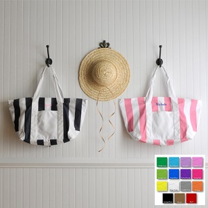 Personalized Striped White Beach Embroidered Tote Bag GC507