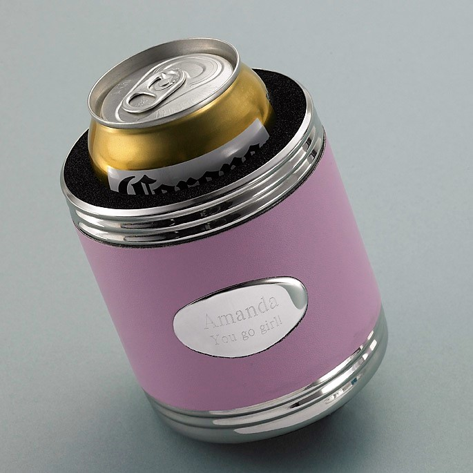 Engraved Silver and Pink Leather Beverage Koozie