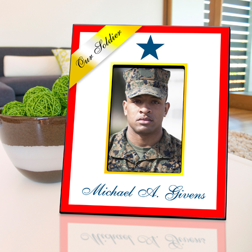 Vertical Blue Star Military Picture Frame