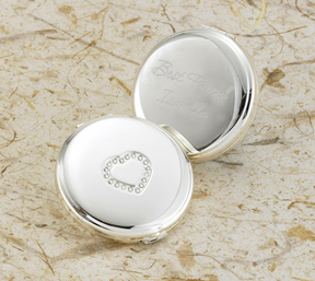 Engraved Beaded Heart Silver Brass Compact