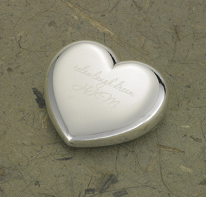 Engraved Silver Brass Heart Paper Weight