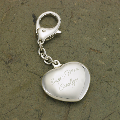 Engraved Silver Heart Key Chain For Love