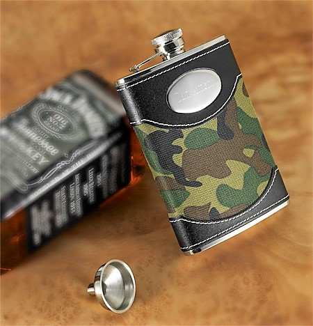 Military Camo 8oz Flask With Silver Engraving GC638