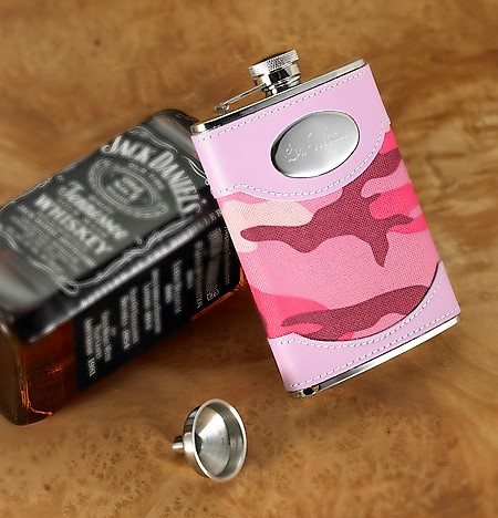 Engraved Pink Leather Camouflage 8oz Flask